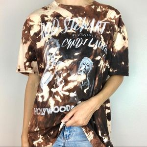 Tops - Rod Stewart 2018 Tour Bleached Tie-Dye Band Tee